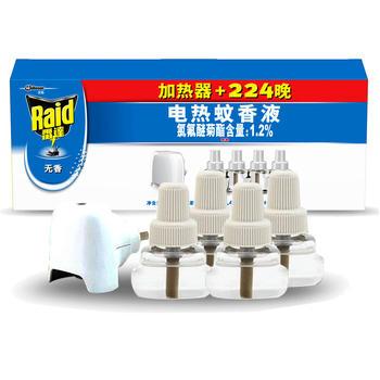 雷达电热蚊香液无香4瓶224晚+加热器 插电式加热器