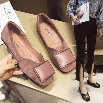 安欣娅韩版方头绒面金属装饰平底女鞋休闲单鞋