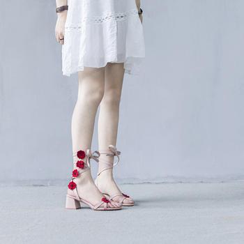 慕沫夏季新款凉鞋女学生仙女鞋系带花朵罗马鞋露趾鞋