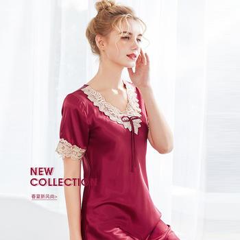 酷诺真丝女士睡衣新品夏季丝绸性感短袖睡裙