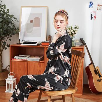 酷诺真丝睡衣女士新品长袖长裤家居服两件套装