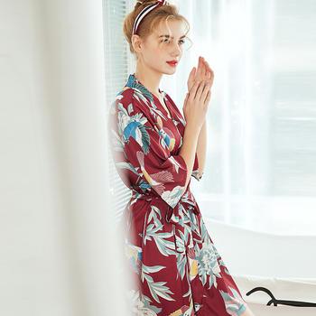 酷诺新品春夏中袖大码睡袍浴袍家居服