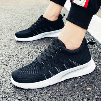 跨洋 时尚轻便透气飞织运动男鞋 黑色