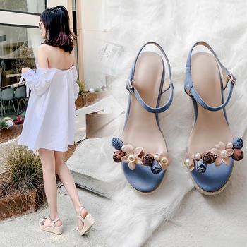 慕沫夏季新款凉鞋波西米亚露趾坡跟高跟鞋沙滩鞋女