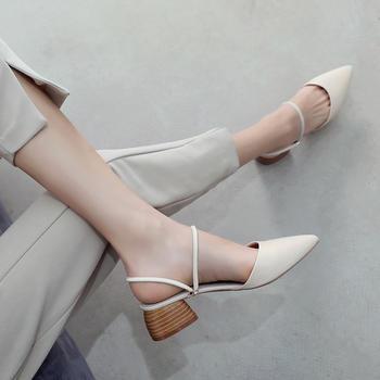 ZHR夏季新款网红?#21525;?#38795;粗高跟凉鞋包头半拖鞋外穿女鞋