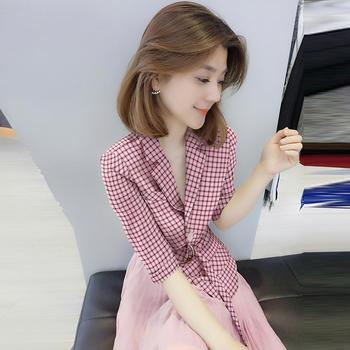 BOBOWALTZ欧洲站女装2019新款欧货潮西装领系带连衣裙