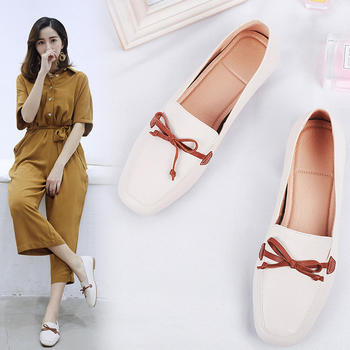 慕沫新款春夏季单鞋女浅口平底鞋一脚蹬豆豆鞋软底鞋