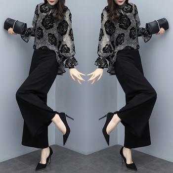 宽松植绒花色上衣阔腿裤两件套女春季新款