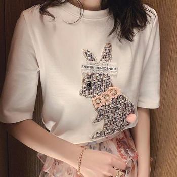 衣岚香春季可爱兔子贴布刺绣短袖t恤女