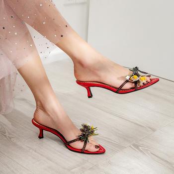 慕沫夏季新款拖鞋露趾外穿半拖细跟低跟鞋罗马鞋女鞋