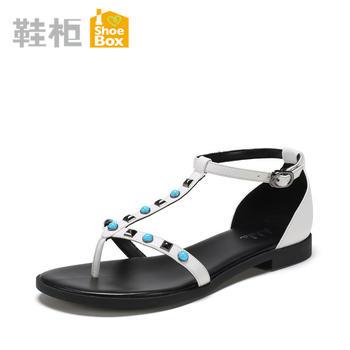 达芙妮旗下女鞋夏夹脚平底后包女凉鞋1717303031