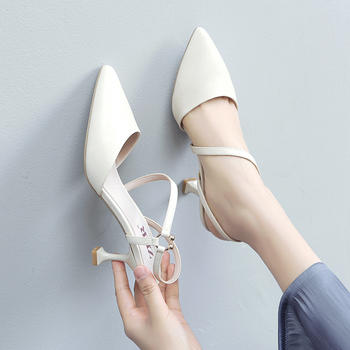 ZHR新款高跟鞋百搭网红细跟凉鞋女浅口尖头猫跟单鞋
