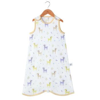 欧孕婴幼儿纱布薄款背心睡袋夏季宝宝防踢被