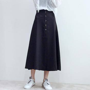 兰菲chic港风百搭高腰装饰扣A字显瘦半身裙