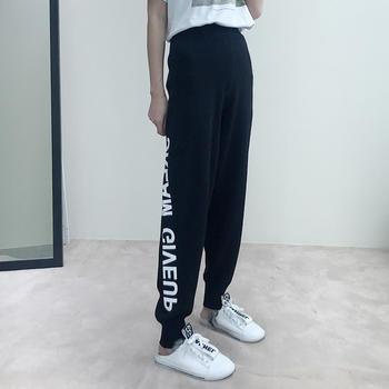 兰菲2019韩版时尚侧边印花字母冰麻针织哈伦裤