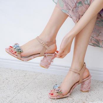 慕沫夏季新款凉鞋甜美花朵仙女鞋一字扣带露趾罗马鞋