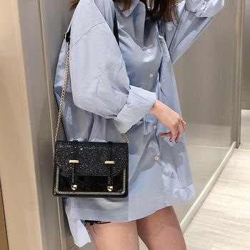 雅诗罗时尚新款亮片女包单肩斜挎抽带包包小方包
