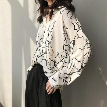 春季韩版宽松复古印花长袖衬衫显瘦百搭衬衣