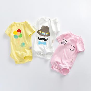 罗町夏季男女宝宝薄款纯棉卡通印花三角连体哈衣
