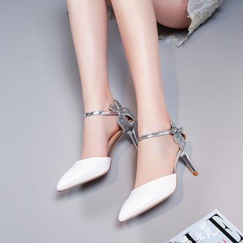 慕沫夏季新款包头凉鞋真皮高跟鞋一字扣带细跟尖头鞋