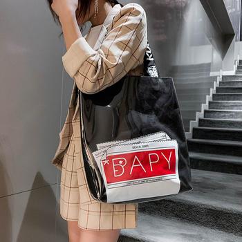 天彩翼飞韩版新款时尚透明大包包百搭单肩字母女包