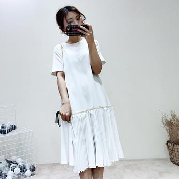 兰菲春季新款chic拼接复古百褶宽松显瘦连衣裙子