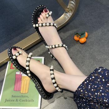 艾微妮新款平底露趾珍珠装饰平底女鞋休闲凉鞋