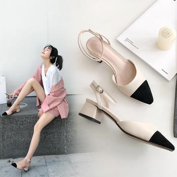 慕沫夏季新款包头凉鞋一字扣带小香风女低跟罗马鞋夏