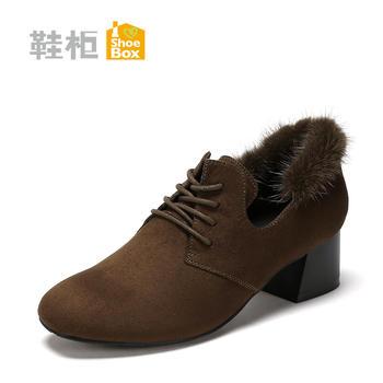 达芙妮旗下?#39184;?#20013;跟系带单鞋?#25351;?#28145;口女鞋1717404049