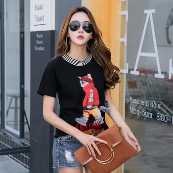 新款韩版女装JQ1938休闲套头短袖t简约上衣圆领T恤