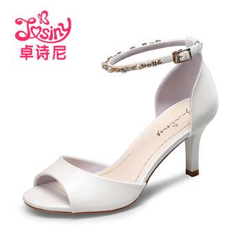 卓诗尼新款高跟细跟凉鞋休闲露趾水钻扣带女鞋124717912