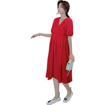 欧丽妈咪孕妇夏装孕妇连衣裙仙女长款红色时尚