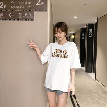 美丽后纯棉字母印花圆领短袖T恤女