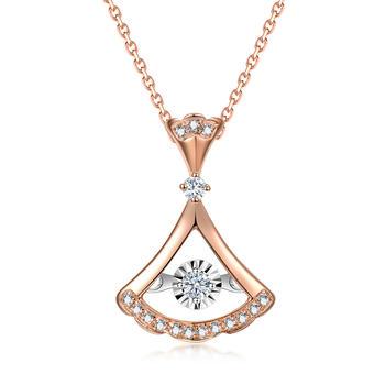 阿梵尼 18k金钻石吊坠扇形裙子灵动系列钻石项链女