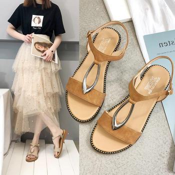 艾微妮新款夏季舒适平底女鞋休闲凉鞋