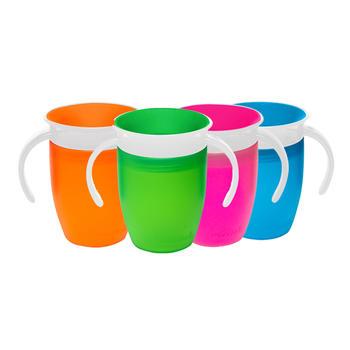 满趣健7盎司360度防漏洒带把手学饮魔术杯颜色随机