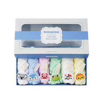 minizone婴儿宝宝纱布口水巾新生儿纯棉小方巾毛巾礼盒