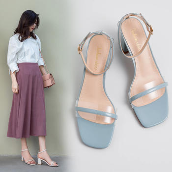 慕沫女鞋夏季新款露趾?#25351;?#39640;跟鞋一字扣带果冻仙女鞋