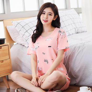 纪妍薇 薄款棉睡衣套装家居服卡通可爱短袖可外穿