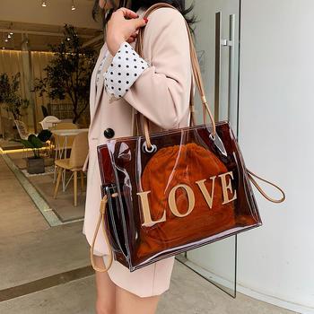 宾尼兔韩版夏季新款透明子母包女时尚字母单肩大包包