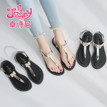 卓诗尼凉鞋低跟平跟露趾休闲丁字扣带女鞋124717712