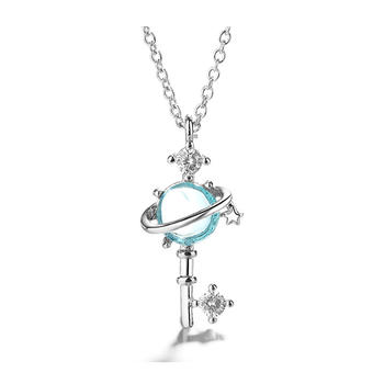 S925银梦幻星球蓝色钥匙吊坠精致工艺时尚气质百搭
