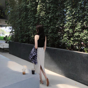 张大奕 白色牛仔裙半身裙中长款女百搭显瘦A字裙
