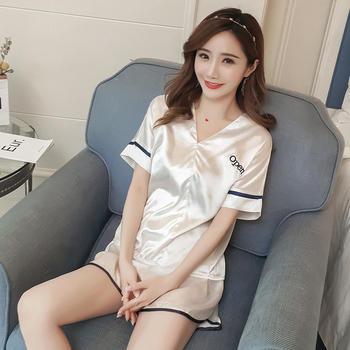纪妍薇 韩版冰丝舒适女睡衣套装短袖家居服两件套夏