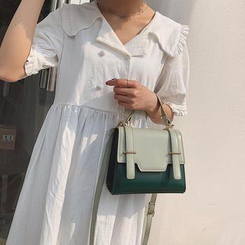 雅涵欧美时尚撞色手提女包单肩包百搭斜挎小包包