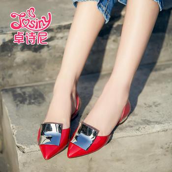 卓诗尼欧美低跟女鞋平跟漆皮套脚尖头凉鞋123717802