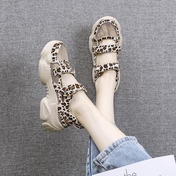 安欣娅夏季时尚豹纹运动网面厚底鞋