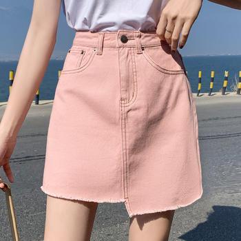 可奈丽莎2019新款粉色牛仔半身裙女夏宽松不规则短裙
