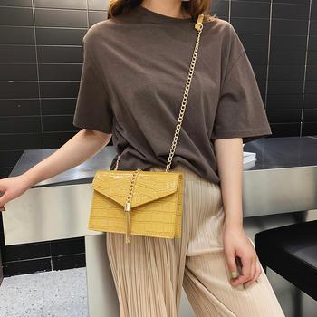 雅诗罗韩版时尚石头纹链条流苏包包单肩百搭斜挎女包