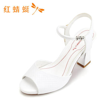 红蜻蜓夏季新款正品女鞋粗高跟一字扣凉鞋女K83771